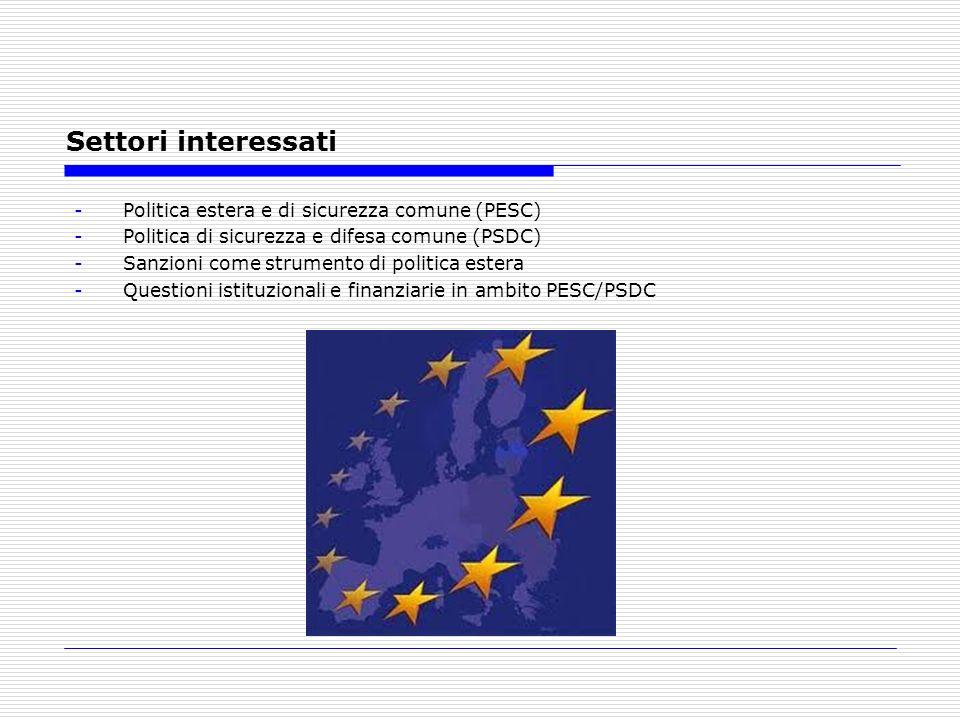Settori interessati -Politica estera e di sicurezza comune (PESC) -Politica di sicurezza e difesa comune (PSDC) -Sanzioni come strumento di politica e