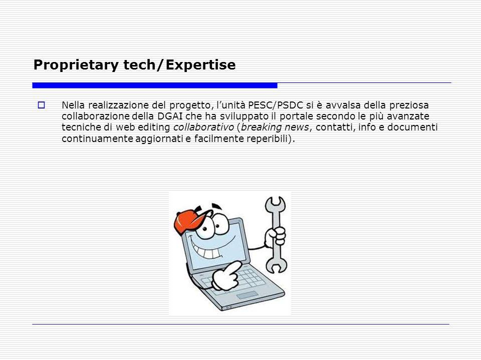 Proprietary tech/Expertise Nella realizzazione del progetto, lunità PESC/PSDC si è avvalsa della preziosa collaborazione della DGAI che ha sviluppato