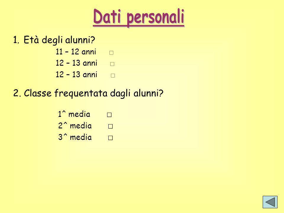 1.Età degli alunni? 11 – 12 anni 12 – 13 anni 2. Classe frequentata dagli alunni? 1^ media 2^ media 3^ media
