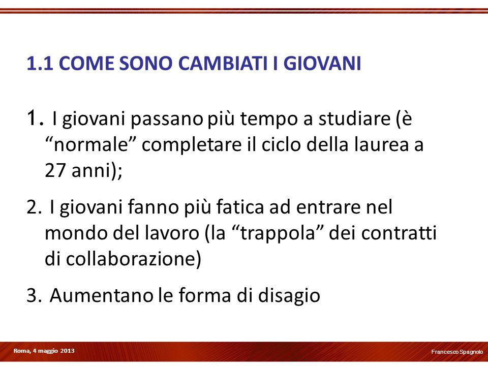 Roma, 4 maggio 2013 1.1 COME SONO CAMBIATI I GIOVANI 1. I giovani passano più tempo a studiare (è normale completare il ciclo della laurea a 27 anni);