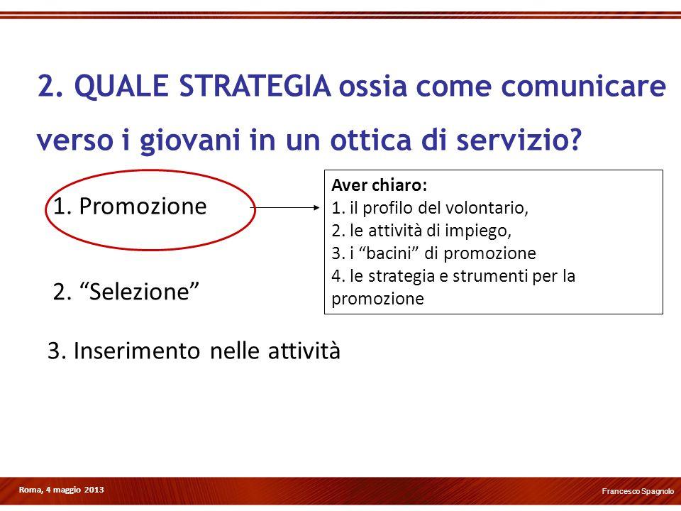 Roma, 4 maggio 2013 1. Promozione 2. Selezione 3. Inserimento nelle attività Aver chiaro: 1. il profilo del volontario, 2. le attività di impiego, 3.