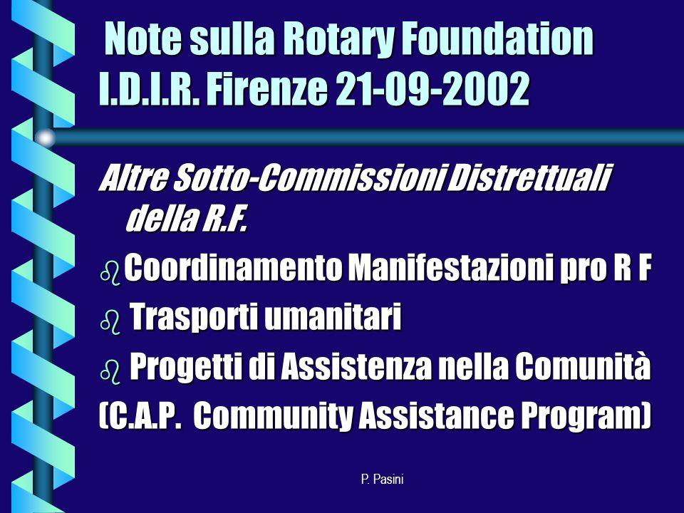 P. Pasini Altre Sotto-Commissioni Distrettuali della R.F.