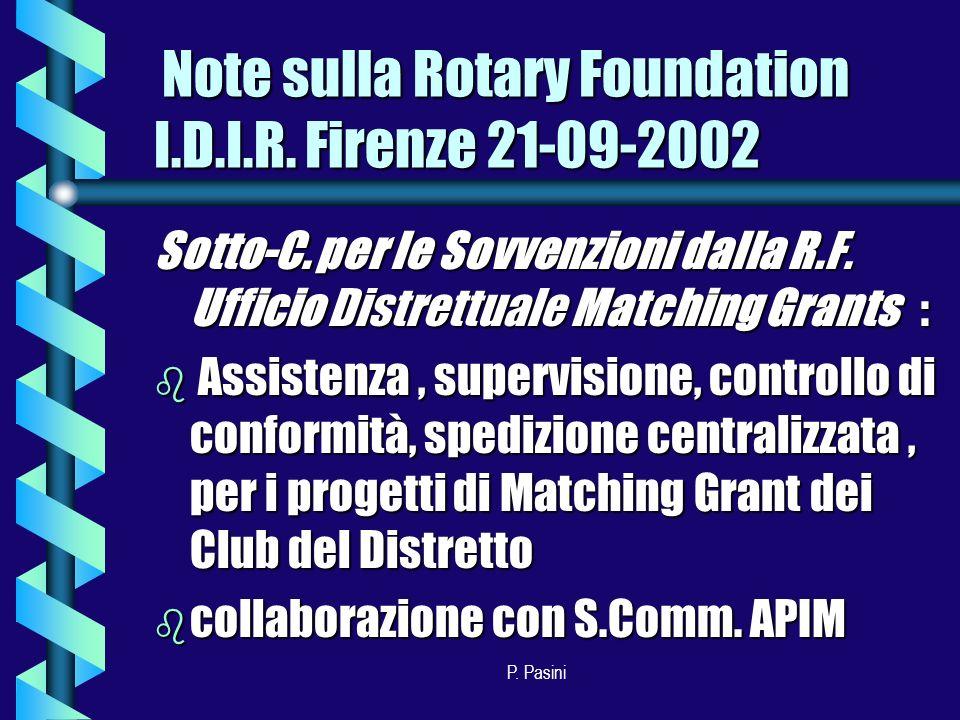 P. Pasini Sotto-C. per le Sovvenzioni dalla R.F.