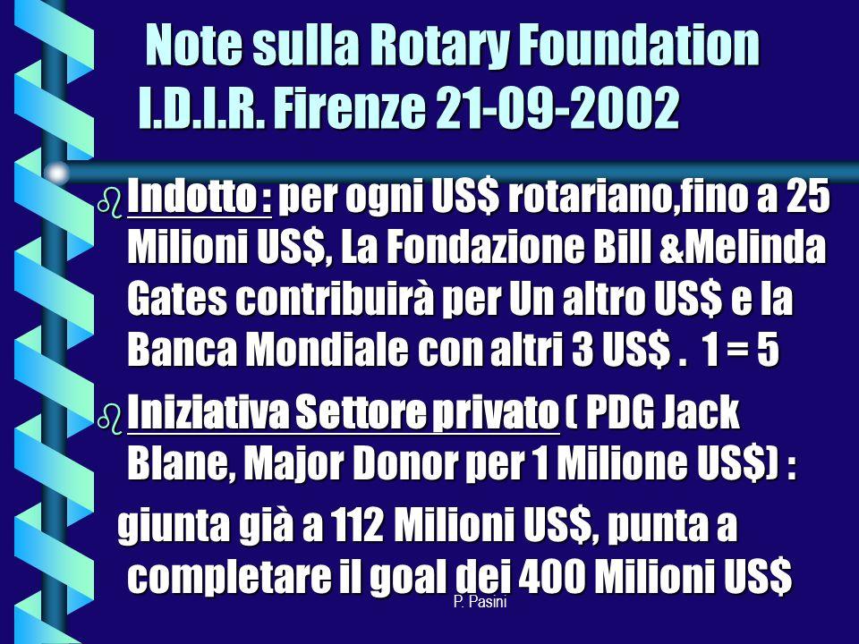 P. Pasini Note sulla Rotary Foundation I.D.I.R.