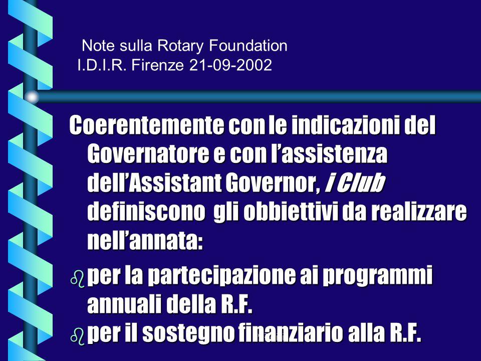 P.Pasini Note sulla Rotary Foundation I.D.I.R.