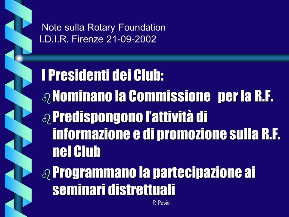 P. Pasini I Presidenti dei Club: b Nominano la Commissione per la R.F.
