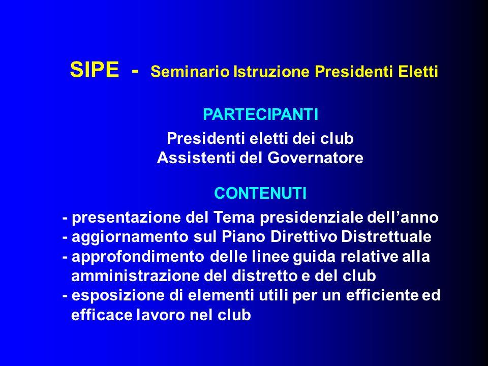 SIPE - Seminario Istruzione Presidenti Eletti PARTECIPANTI Presidenti eletti dei club Assistenti del Governatore CONTENUTI - presentazione del Tema pr
