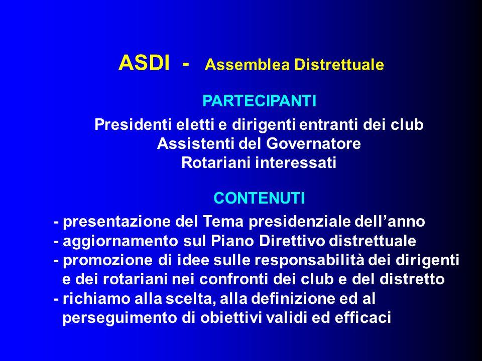 ASDI - Assemblea Distrettuale PARTECIPANTI Presidenti eletti e dirigenti entranti dei club Assistenti del Governatore Rotariani interessati CONTENUTI