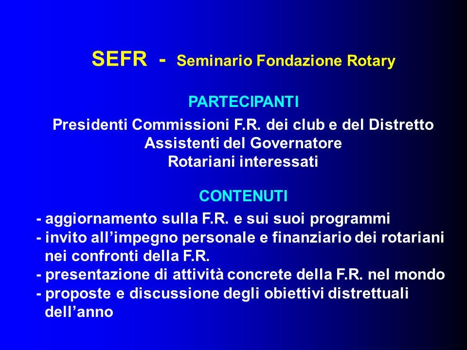 SEFR - Seminario Fondazione Rotary PARTECIPANTI Presidenti Commissioni F.R. dei club e del Distretto Assistenti del Governatore Rotariani interessati