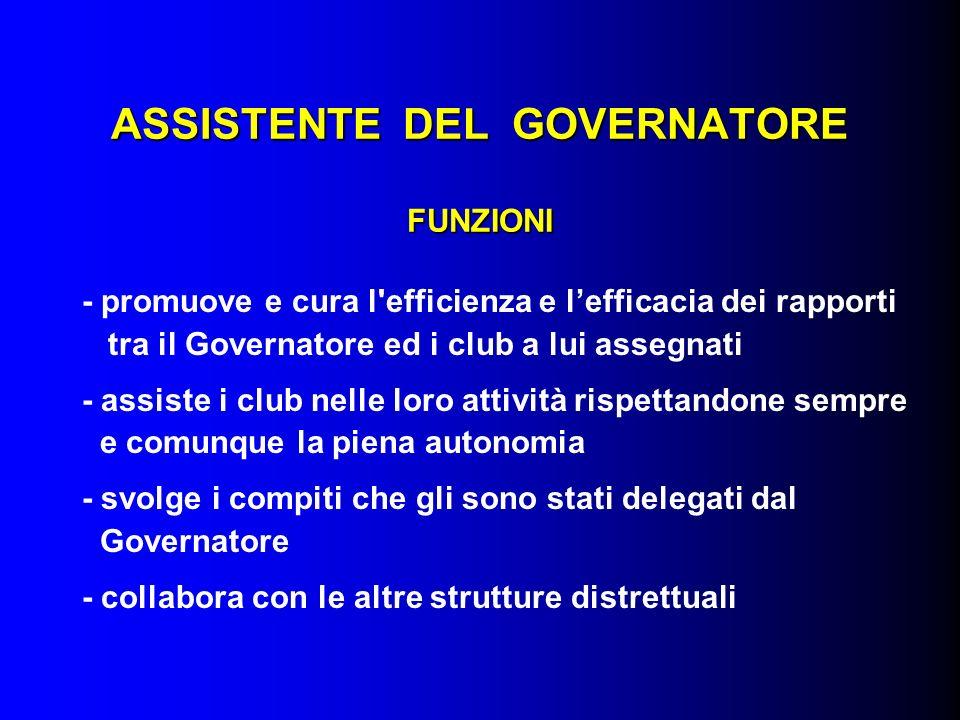 ASSISTENTE DEL GOVERNATORE FUNZIONI - promuove e cura l'efficienza e lefficacia dei rapporti tra il Governatore ed i club a lui assegnati - assiste i