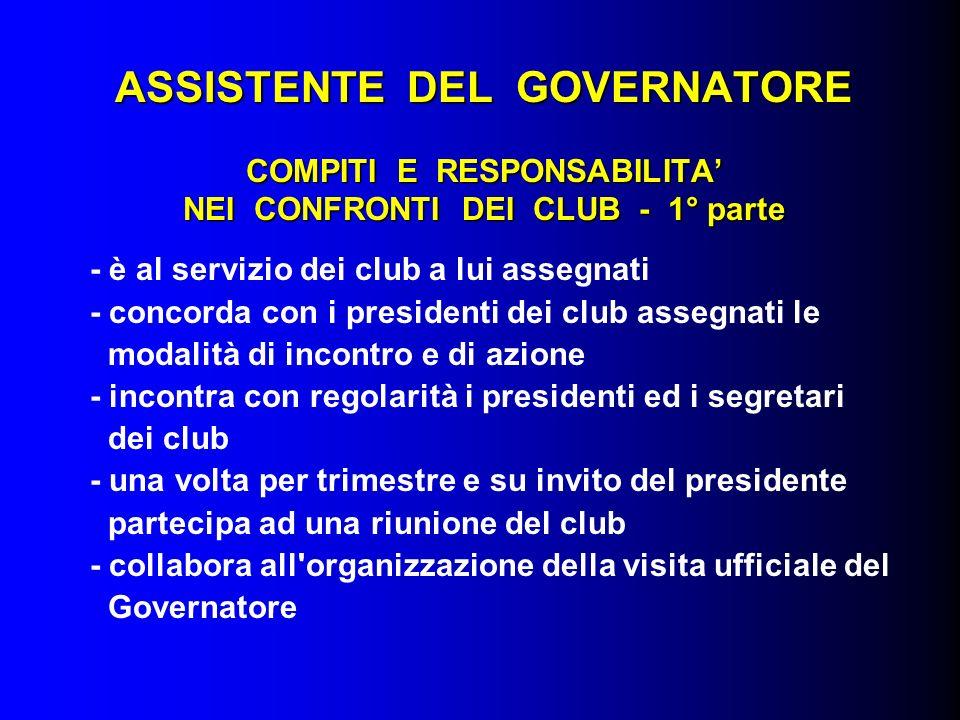 ASSISTENTE DEL GOVERNATORE COMPITI E RESPONSABILITA NEI CONFRONTI DEI CLUB - 1° parte - è al servizio dei club a lui assegnati - concorda con i presid