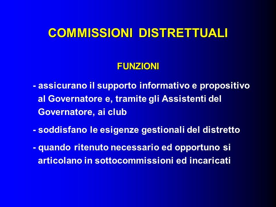 COMMISSIONI DISTRETTUALI FUNZIONI - assicurano il supporto informativo e propositivo al Governatore e, tramite gli Assistenti del Governatore, ai club