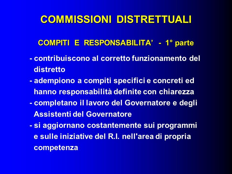COMMISSIONI DISTRETTUALI COMPITI E RESPONSABILITA - 1° parte - contribuiscono al corretto funzionamento del distretto - adempiono a compiti specifici