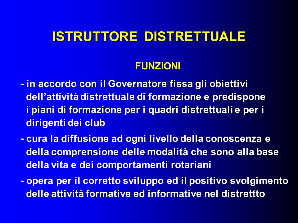 ISTRUTTORE DISTRETTUALE FUNZIONI - in accordo con il Governatore fissa gli obiettivi dellattività distrettuale di formazione e predispone i piani di f
