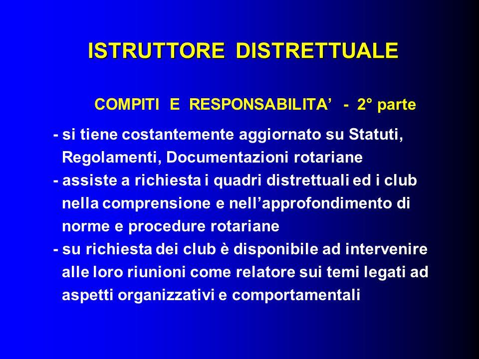 ISTRUTTORE DISTRETTUALE COMPITI E RESPONSABILITA - 2° parte - si tiene costantemente aggiornato su Statuti, Regolamenti, Documentazioni rotariane - as