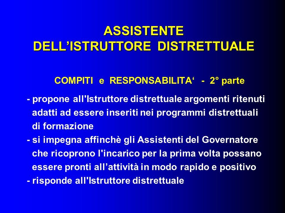 ASSISTENTE DELLISTRUTTORE DISTRETTUALE COMPITI e RESPONSABILITA - 2° parte - propone all'Istruttore distrettuale argomenti ritenuti adatti ad essere i