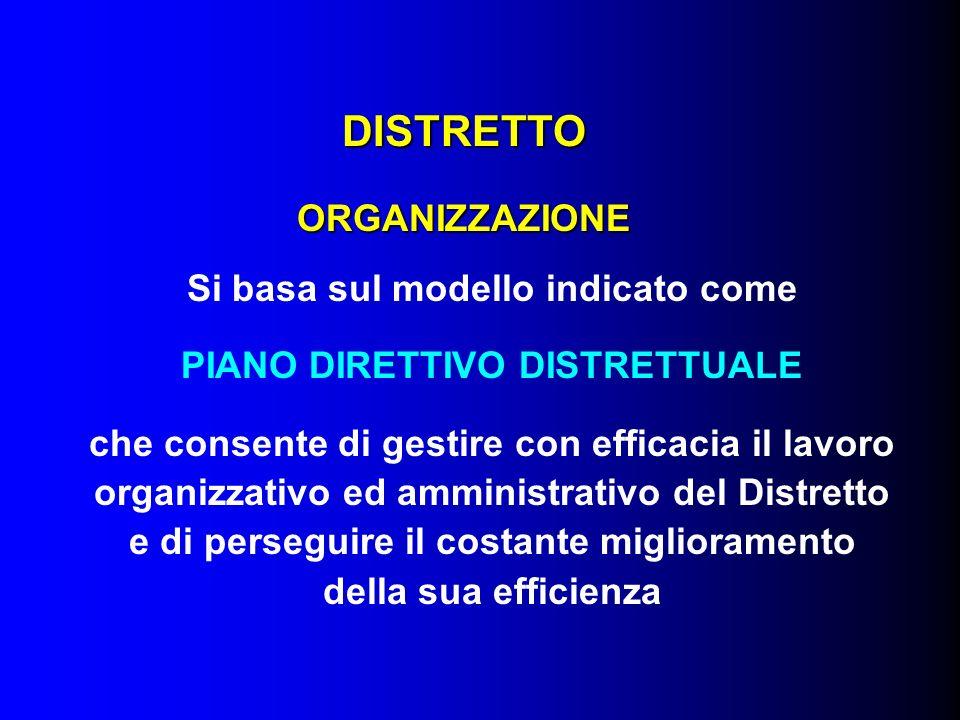 DISTRETTO ORGANIZZAZIONE Si basa sul modello indicato come PIANO DIRETTIVO DISTRETTUALE che consente di gestire con efficacia il lavoro organizzativo