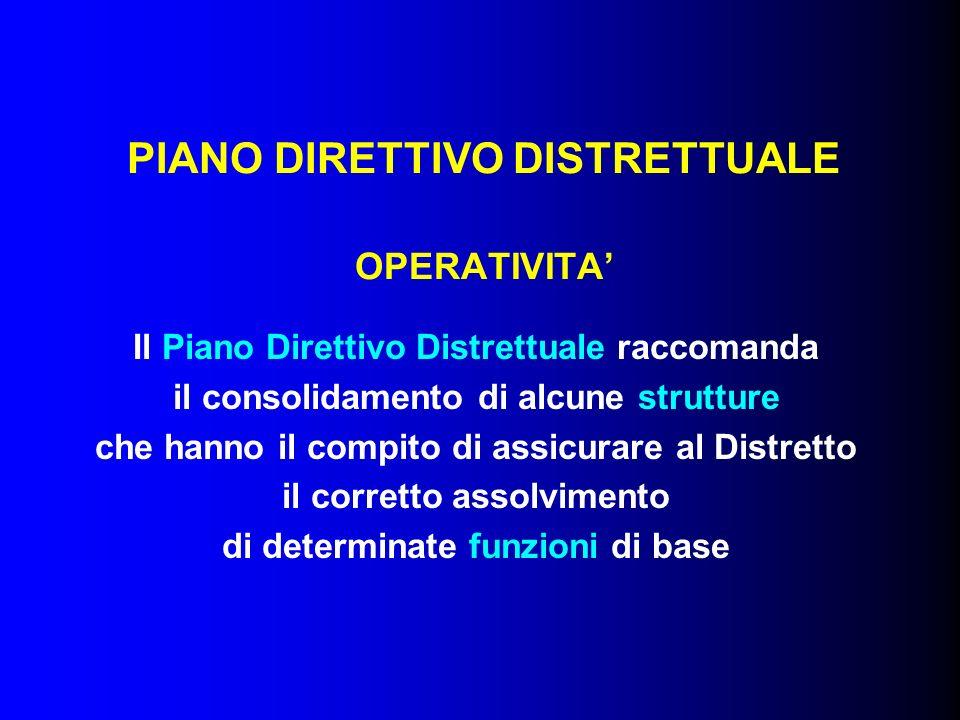 PIANO DIRETTIVO DISTRETTUALE OPERATIVITA Il Piano Direttivo Distrettuale raccomanda il consolidamento di alcune strutture che hanno il compito di assicurare al Distretto il corretto assolvimento di determinate funzioni di base
