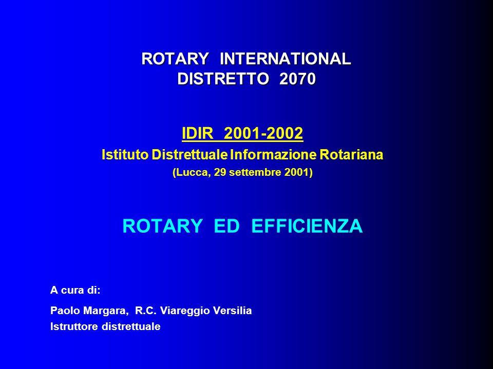 ROTARY INTERNATIONAL DISTRETTO 2070 IDIR 2001-2002 Istituto Distrettuale Informazione Rotariana (Lucca, 29 settembre 2001) ROTARY ED EFFICIENZA A cura