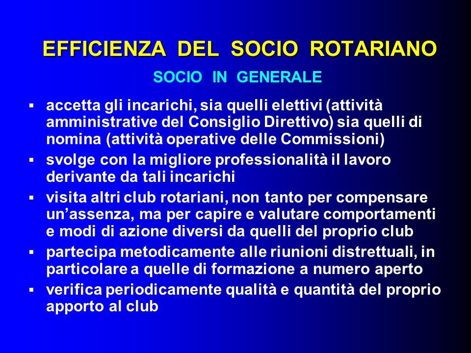 EFFICIENZA DEL SOCIO ROTARIANO SOCIO IN GENERALE accetta gli incarichi, sia quelli elettivi (attività amministrative del Consiglio Direttivo) sia quel