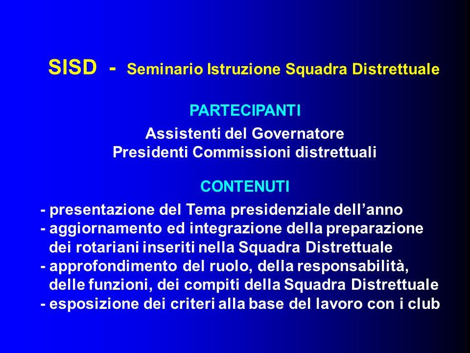 SISD - Seminario Istruzione Squadra Distrettuale PARTECIPANTI Assistenti del Governatore Presidenti Commissioni distrettuali CONTENUTI - presentazione