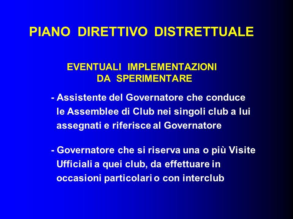 PIANO DIRETTIVO DISTRETTUALE EVENTUALI IMPLEMENTAZIONI DA SPERIMENTARE - Assistente del Governatore che conduce le Assemblee di Club nei singoli club