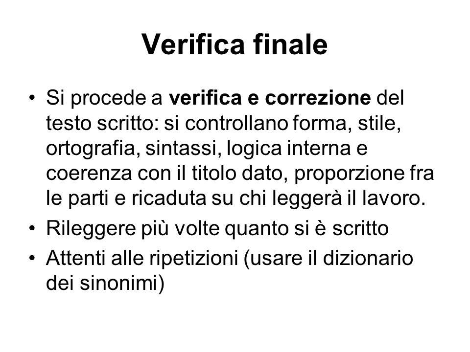 Verifica finale Si procede a verifica e correzione del testo scritto: si controllano forma, stile, ortografia, sintassi, logica interna e coerenza con