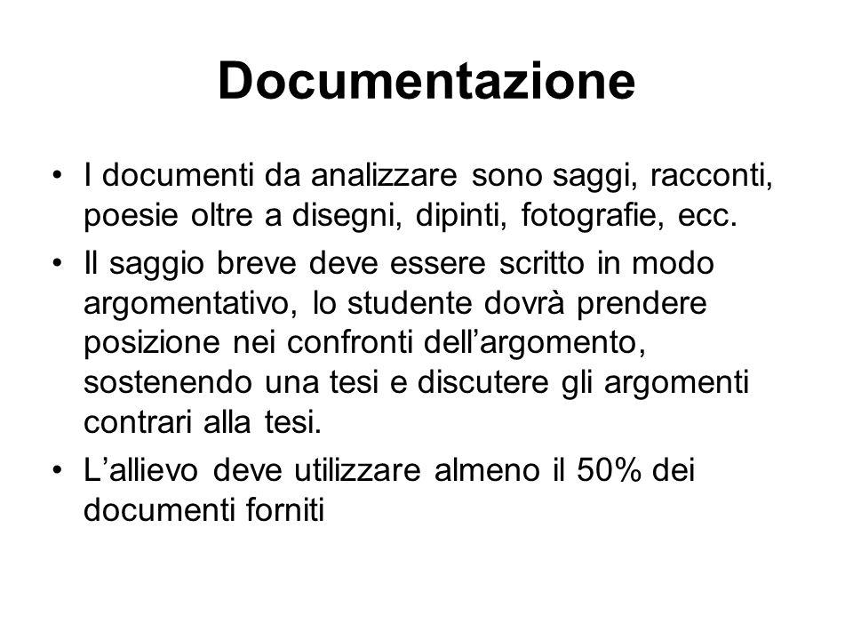 Documentazione I documenti da analizzare sono saggi, racconti, poesie oltre a disegni, dipinti, fotografie, ecc. Il saggio breve deve essere scritto i