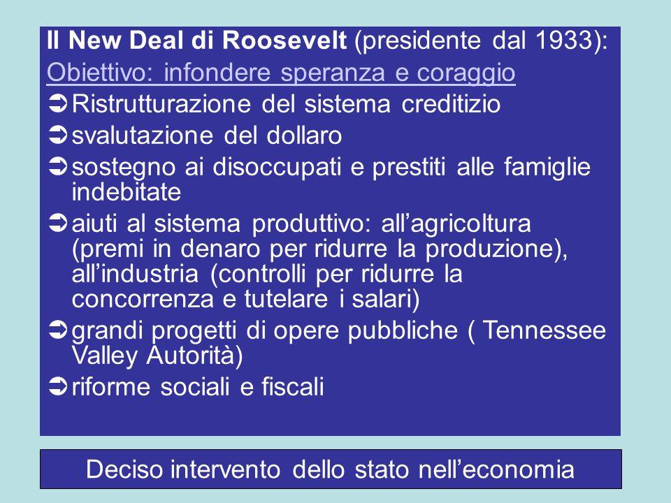 Deciso intervento dello stato nelleconomia Il New Deal di Roosevelt (presidente dal 1933): Obiettivo: infondere speranza e coraggio Ristrutturazione d
