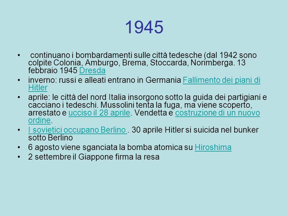 1945 continuano i bombardamenti sulle città tedesche (dal 1942 sono colpite Colonia, Amburgo, Brema, Stoccarda, Norimberga. 13 febbraio 1945 DresdaDre