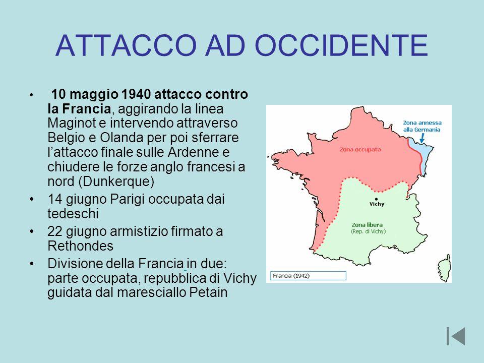 ATTACCO AD OCCIDENTE 10 maggio 1940 attacco contro la Francia, aggirando la linea Maginot e intervendo attraverso Belgio e Olanda per poi sferrare lat