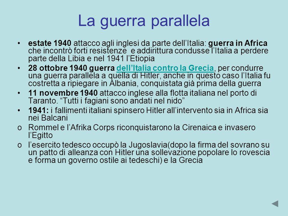 La guerra parallela estate 1940 attacco agli inglesi da parte dellItalia: guerra in Africa che incontrò forti resistenze e addirittura condusse lItali
