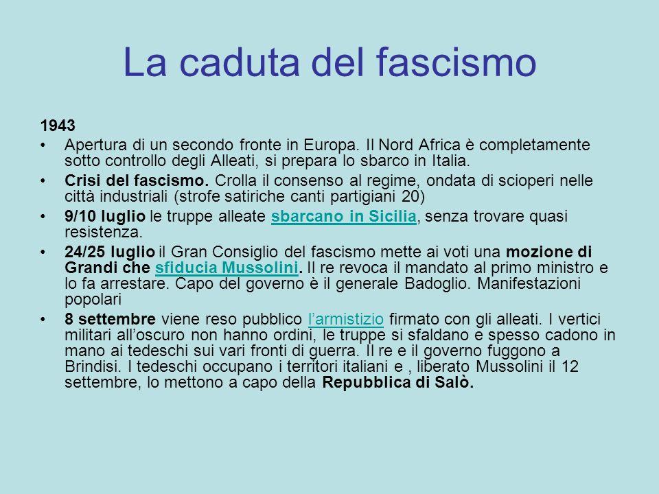 La caduta del fascismo 1943 Apertura di un secondo fronte in Europa. Il Nord Africa è completamente sotto controllo degli Alleati, si prepara lo sbarc