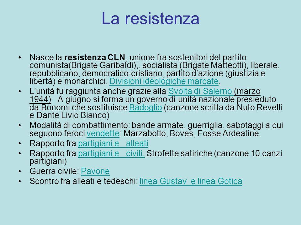 La resistenza Nasce la resistenza CLN, unione fra sostenitori del partito comunista(Brigate Garibaldi),, socialista (Brigate Matteotti), liberale, rep