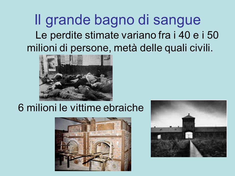 Il grande bagno di sangue Le perdite stimate variano fra i 40 e i 50 milioni di persone, metà delle quali civili. 6 milioni le vittime ebraiche