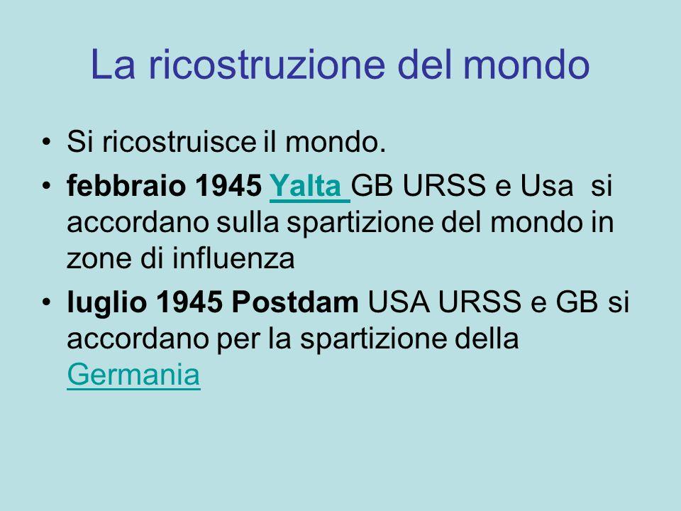 La ricostruzione del mondo Si ricostruisce il mondo. febbraio 1945 Yalta GB URSS e Usa si accordano sulla spartizione del mondo in zone di influenzaYa