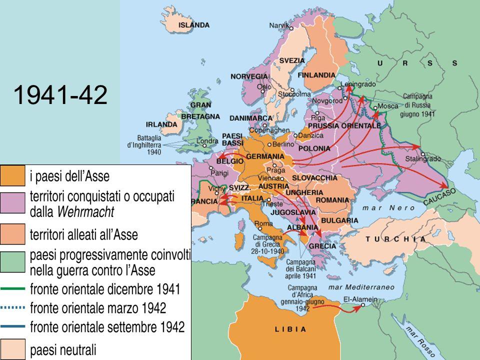 Il nuovo ordine 1942 LAsse ha conquistato e controlla gran parte dEuropa: realizzazione del nuovo ordine Schiavizzazione degli slavi Avvio della soluzione finale per gli ebreiAvvio della soluzione finale per gli ebrei La resistenza Francia De Gaulle Jugoslavia Tito Il collaborazionismo