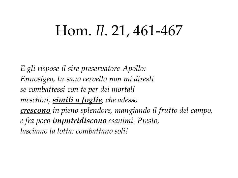 Hom. Il. 21, 461-467 E gli rispose il sire preservatore Apollo: Ennosìgeo, tu sano cervello non mi diresti se combattessi con te per dei mortali mesch