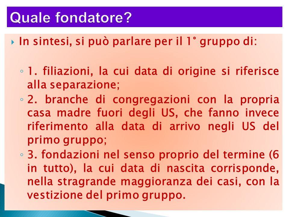 In sintesi, si può parlare per il 1° gruppo di: 1. filiazioni, la cui data di origine si riferisce alla separazione; 2. branche di congregazioni con l