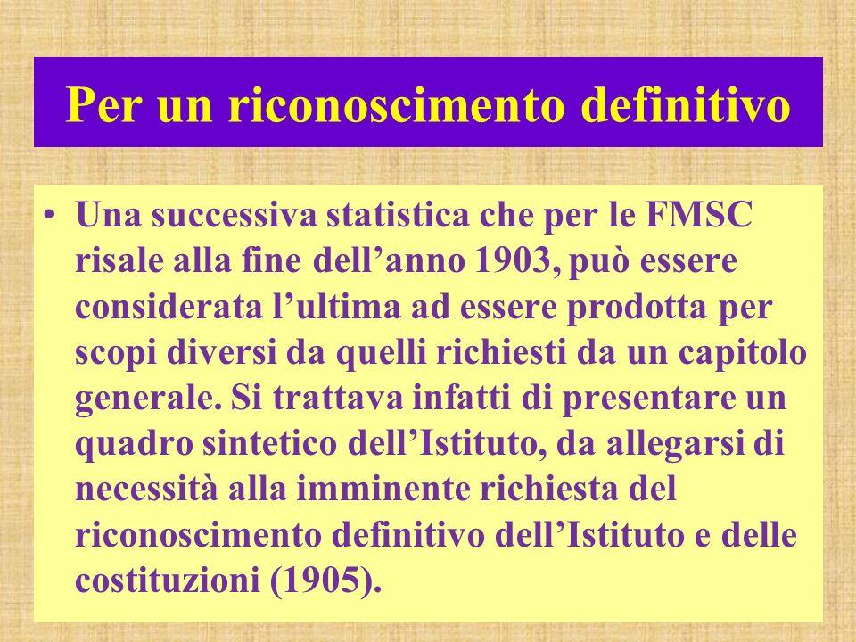 Per un riconoscimento definitivo Una successiva statistica che per le FMSC risale alla fine dellanno 1903, può essere considerata lultima ad essere prodotta per scopi diversi da quelli richiesti da un capitolo generale.