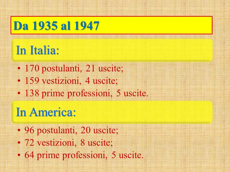 In Italia: 170 postulanti, 21 uscite; 159 vestizioni, 4 uscite; 138 prime professioni, 5 uscite. In America: 96 postulanti, 20 uscite; 72 vestizioni,