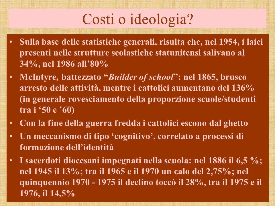 Costi o ideologia? Sulla base delle statistiche generali, risulta che, nel 1954, i laici presenti nelle strutture scolastiche statunitensi salivano al