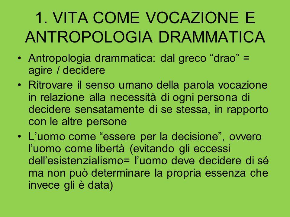 1. VITA COME VOCAZIONE E ANTROPOLOGIA DRAMMATICA Antropologia drammatica: dal greco drao = agire / decidere Ritrovare il senso umano della parola voca
