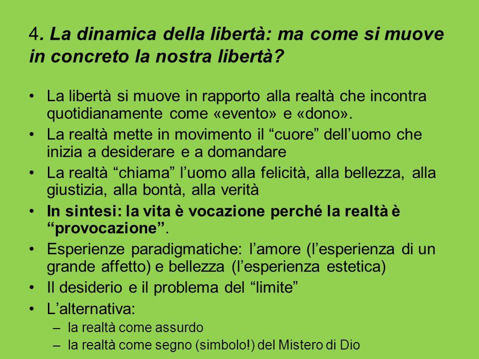 4. La dinamica della libertà: ma come si muove in concreto la nostra libertà? La libertà si muove in rapporto alla realtà che incontra quotidianamente