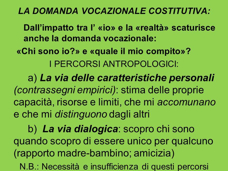 LA DOMANDA VOCAZIONALE COSTITUTIVA: Dallimpatto tra l «io» e la «realtà» scaturisce anche la domanda vocazionale: «Chi sono io?» e «quale il mio compi