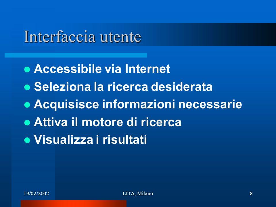 19/02/2002LITA, Milano8 Interfaccia utente Accessibile via Internet Seleziona la ricerca desiderata Acquisisce informazioni necessarie Attiva il motore di ricerca Visualizza i risultati