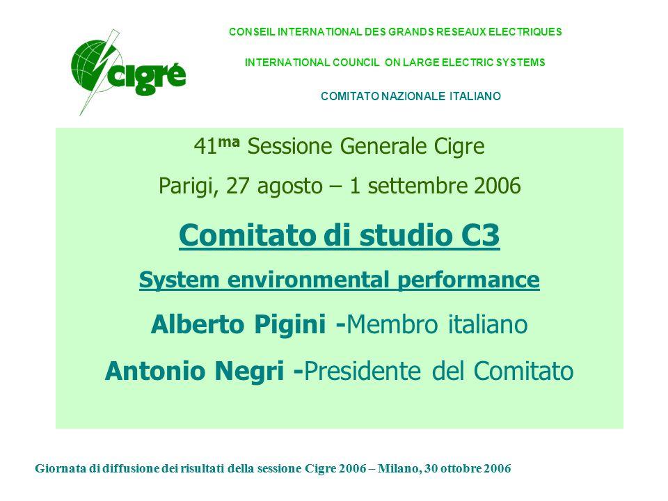Sintesi della Sessione Tecnica del SC C3 Alberto Pigini Giornata di diffusione dei risultati della sessione Cigre 2006 – Milano, 30 ottobre 2006