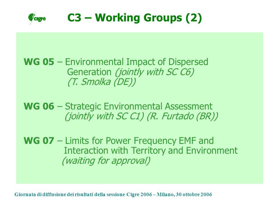 Giornata di diffusione dei risultati della sessione Cigre 2006 – Milano, 30 ottobre 2006 WG 05 – Environmental Impact of Dispersed Generation (jointly with SC C6) (T.