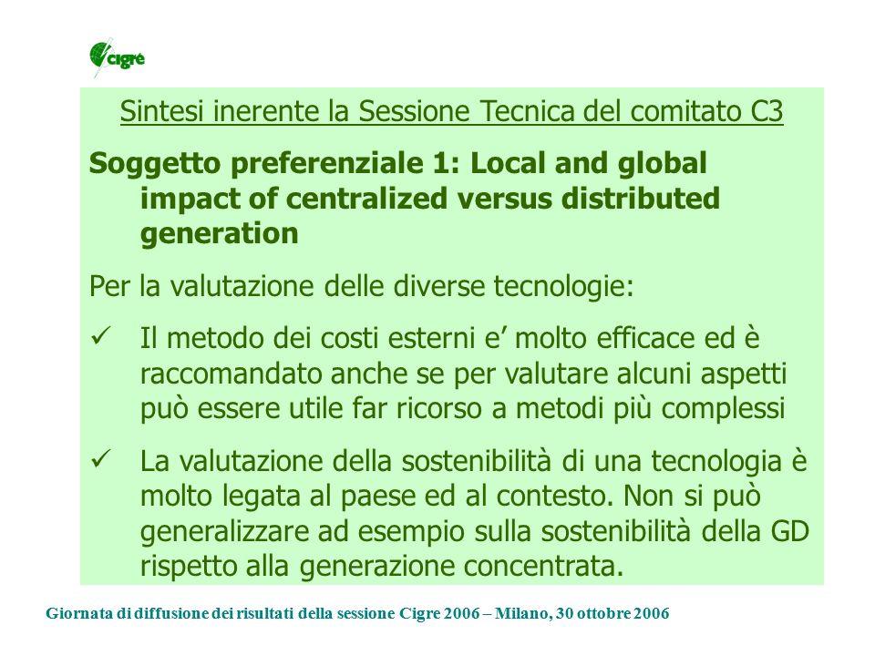 Sintesi inerente la Sessione Tecnica del comitato C3 Soggetto preferenziale 1: Local and global impact of centralized versus distributed generation Per quanto riguarda le politiche di indirizzo Incentivazioni fisse per le rinnovabili sono importanti per spingere nuove tecnologie, ma poi è opportuno ricorrere a meccanismi di mercato Occorre semplificare e razionalizzare gli incentivi Giornata di diffusione dei risultati della sessione Cigre 2006 – Milano, 30 ottobre 2006