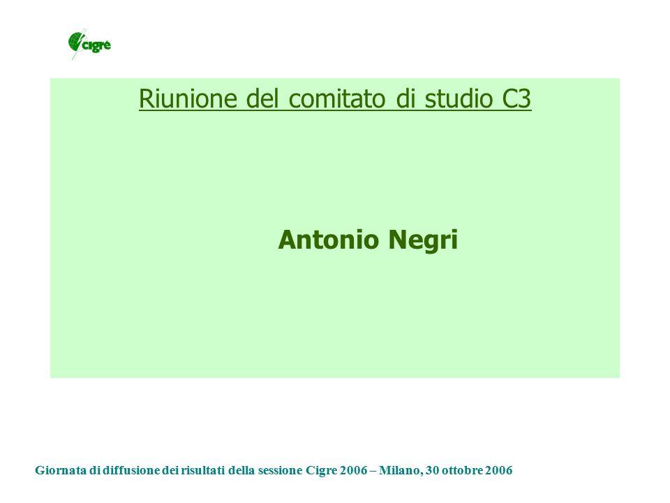 Riunione del comitato di studio C3 Antonio Negri Giornata di diffusione dei risultati della sessione Cigre 2006 – Milano, 30 ottobre 2006